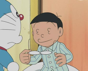 Nobi Nobita 野比のび太, taking off his glasses to reveal a face with eyes that are 3's, me ga san 目が3.