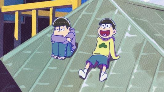 Matsuno Ichimatsu 松野一松 and Matsuno Juushimatsu 松野十四松 on the roof.