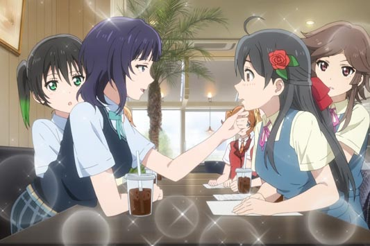 Asaka Karin 朝香果林 holding Ayanokouji Himeno's 綾小路姫乃 chin up (agokui 顎クイ).