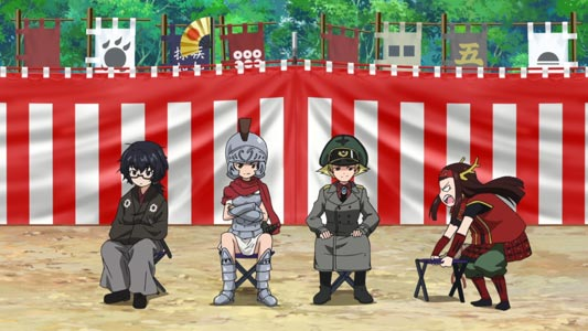 Characters sitting on folding chairs.
