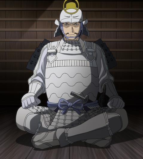 Furuta Sasuke 古田左介 sitting with legs crossed, in agura あぐら position.