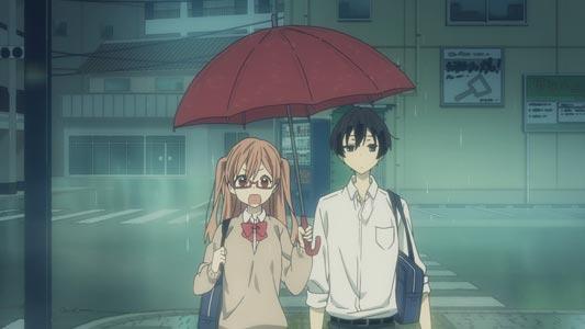 "Shiraishi 白石 and Tanaka 田中 ""sharing an umbrella,"" example of aiaigasa 相合い傘."