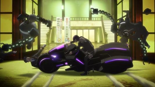 """Courier,"" Hakobiya 運び屋, possibly parodying the bike slide from Akira アキラ."
