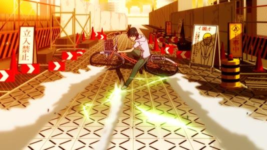 Araragi Koyomi 阿良々木暦, parodying the bike slide from Akira アキラ.