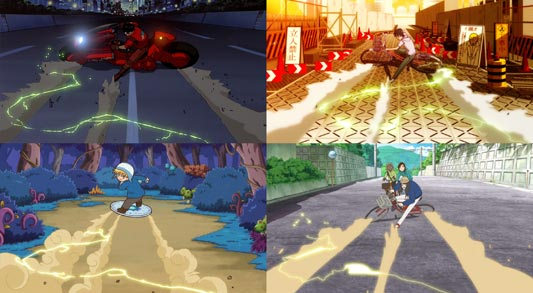 Examples of anime parodying the bike slide from Akira アキラ.