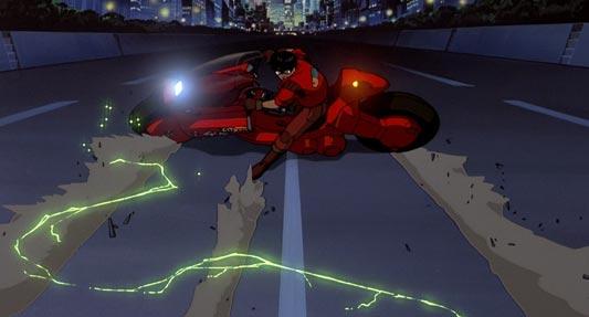 Kaneda Shoutarou 金田正太郎, sliding on his red bike.