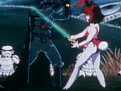 A bunny girl fighting Darth Vader with a light saber.