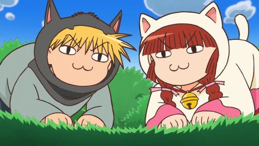 Nike ニケ, and Kururi ククリ turned into cats. In the series, they say unyoraa ウニョラー and toppirokii トッピロキー instead of human language.
