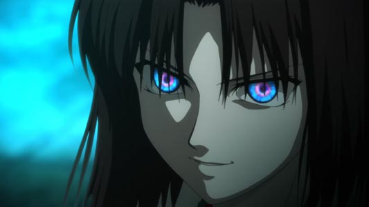 Ryougi Shiki 両儀式. and the Chokushi no Magan 直死の魔眼, Mystic Eyes of Death Perception.