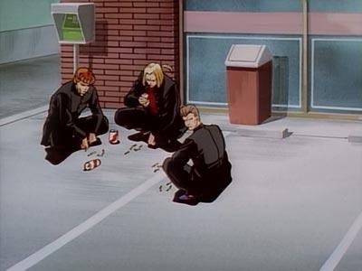 Delinquents squatting.