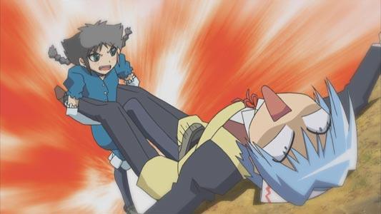 Ayasaki Hayate 綾崎ハヤテ attacks Aizawa Sakuya 愛沢咲夜 with a denki-anma 電気あんま, parodying Gu-Gu Ganmo Gu-Guガンモ.