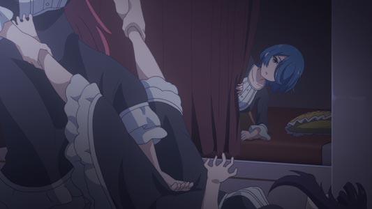 Eliza エリザ attacks Yuzuriha ユズリハ with a denki-anma 電気あんま.