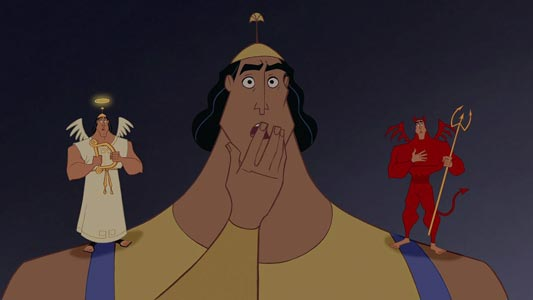 Kronk, example of devil and angel on a character's shoulder.