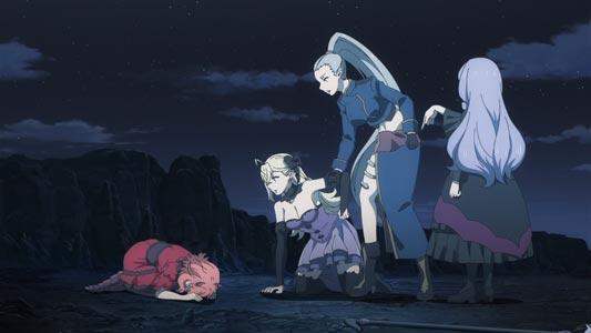 Joanna イオアナ orders Hanako 花子 to do a dogeza 土下座, while i>Carmilla カーミラ and Rose ローゼ stand by.