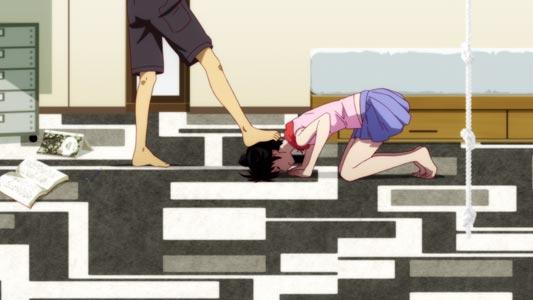 Araragi Karen 阿良々木火憐 doing a dogeza 土下座 while being stepped on the head by her older brother, Araragi Koyomi 阿良々木暦.
