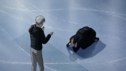 Katsuki Yuuri 勝生勇利 doing a dogeza 土下座 on ice.