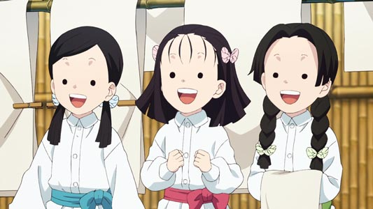 "The ""Three Butterfly Sisters,"" Kochou San-shimai 胡蝶三姉妹, example of ""dot eyes,"" ten-me 点目."