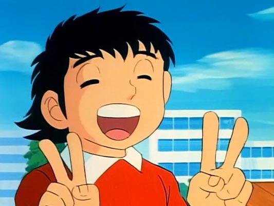 "Oozora Tsubasa 大空翼 doing a ""double peace"" sign, daburu piisu ダブルピース."