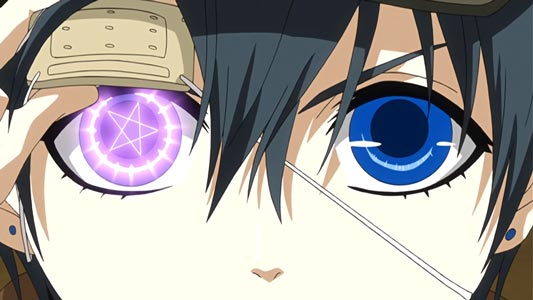 Ciel Phantomhive シエル・ファントムハイヴ, lifting his eye patch to show his left eye with a glowing pentagram on it.