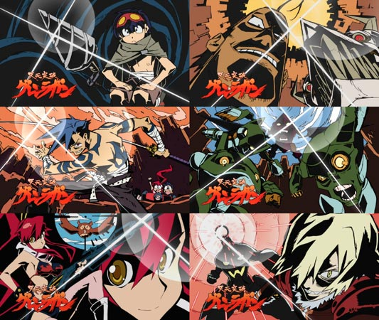A collage of eyecatch アイキャッチ images shown before (left) and after (right) the commercial breaks of three different episodes.