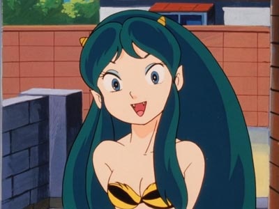 "Lum ラム, example of anime character with ""fangs,"" kiba 牙."