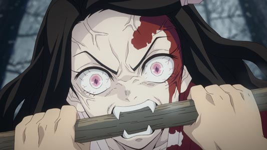 "Kamado Nezuko 竈門禰豆子, example of character with ""fangs,"" kiba 牙."