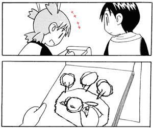 Yotsuba よつば having fun drawing, with lines symbolizing her fun.