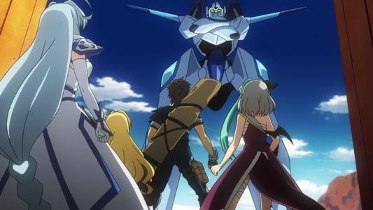 A giant robot standing in Gainax stance (ガイナ立ち).