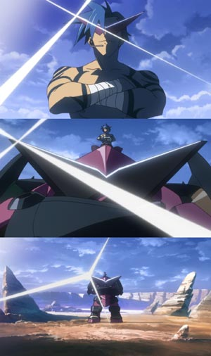 Kamina カミナ sitting with arms crossed on top of Gurren グレン.