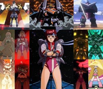 Characters from Gainax series doing the Gainax pose (ガイナックス立ち).