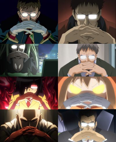 A collage of characters doing a Gendō pose ゲンドウポーズ.