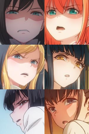 A collage of disgusted faces from iyapan 嫌パン.