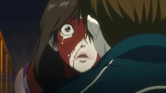 A character crying covered in blood.