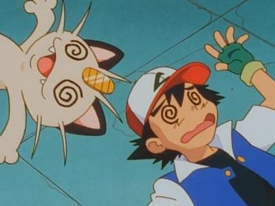 Meowth, Nyaasu ニャース, and Ash Ketchum, Satoshi サトシ, example of spiral eyes, guruguru-me グルグル目.