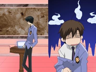 Ootori Kyouya 鳳鏡夜, Fujioka Haruhi 藤岡ハルヒ, example of hair sticking out of a character.