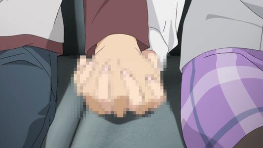 Azusagawa Sakuta 梓川咲太 holding hands with fingers interlocked with Sakurajima Mai 桜島麻衣, example of koibito-tsunagi 恋人繋ぎ. Lewd.