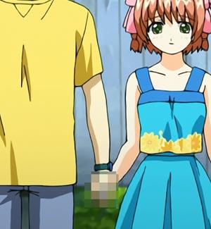 Narumi Takayuki 鳴海孝之 and Suzumiya Haruka 涼宮遙 holding hands. Lewd.
