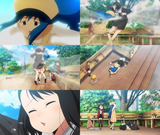 """Kotoha 琴葉 attacking Sasaki Nonoka 笹木ののか with a """"belly punch,"""" hara-pan 腹パン."""