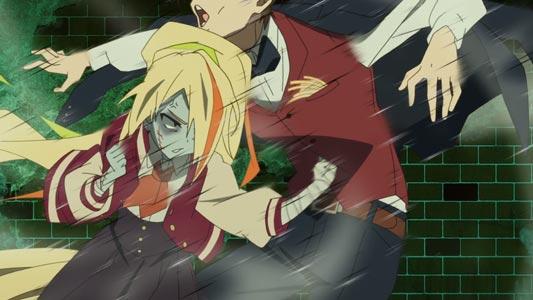 "Nikaidou Saki 二階堂サキ attacking Tatsumi Koutarou 巽幸太郎 with a ""belly punch,"" hara-pan 腹パン."