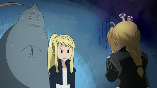 Alphonse Elric アルフォンス・エルリック, Winry Rockbell ウィンリィ・ロックベル, and Edward Elric エドワード・エルリック, the latter with mushrooms growing on his head.