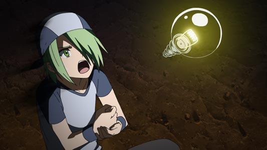 "Lubbock ラバック, , example of an idea ""light bulb,"" denkyuu 電球."