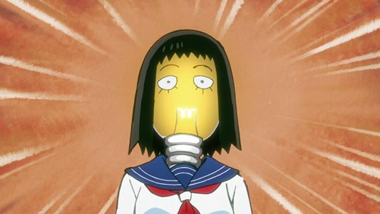 "The head of Kurata Tome 暗田トメ turning into an idea ""light bulb,"" denkyuu 電球."