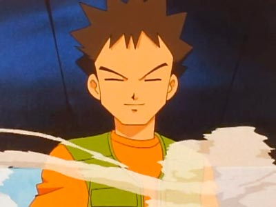 "Takeshi タケシ, also known as Brock, example of ito-me 糸目, ""string eyes."""