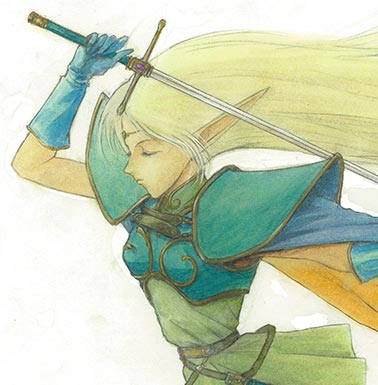 An illustration of the high-elf Deedlit ディードリット, by Izubuchi Yutaka 出渕裕. The character is said to have popularized pointed elf ears in anime.