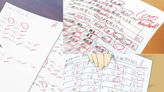Different symbols used to grade exams in Japan: check marks or ticks mean incorrect, circles mean correct, and triangles partially correct.