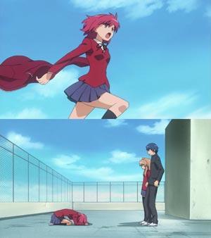 Kushieda Minori 櫛枝実乃梨, example of jumping dogeza ジャンピング土下座, and parody of Toki wo Kakeru Shoujo 時をかける少女.