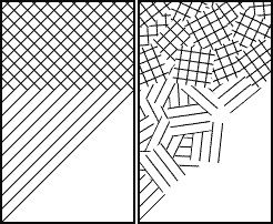 Diagram showing the difference between cross-hatching (left) and kakeami カケアミ (right).