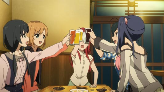 Example of clinking glasses together, kanpai 乾杯, in a drinking party, nomikai 飲み会.