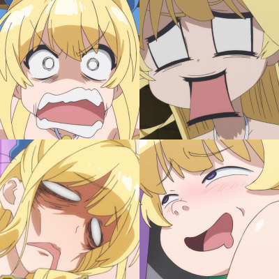 Examples of 顔芸, exaggerated anime facial expressions.