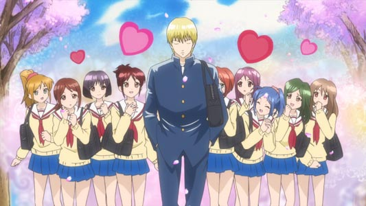 Mantama まんたま, a parody of Gintama 銀魂, features Kintoki 金時 as the last man in the world, so all the girls fall in love with him, because he's literally the only boy in the world.
